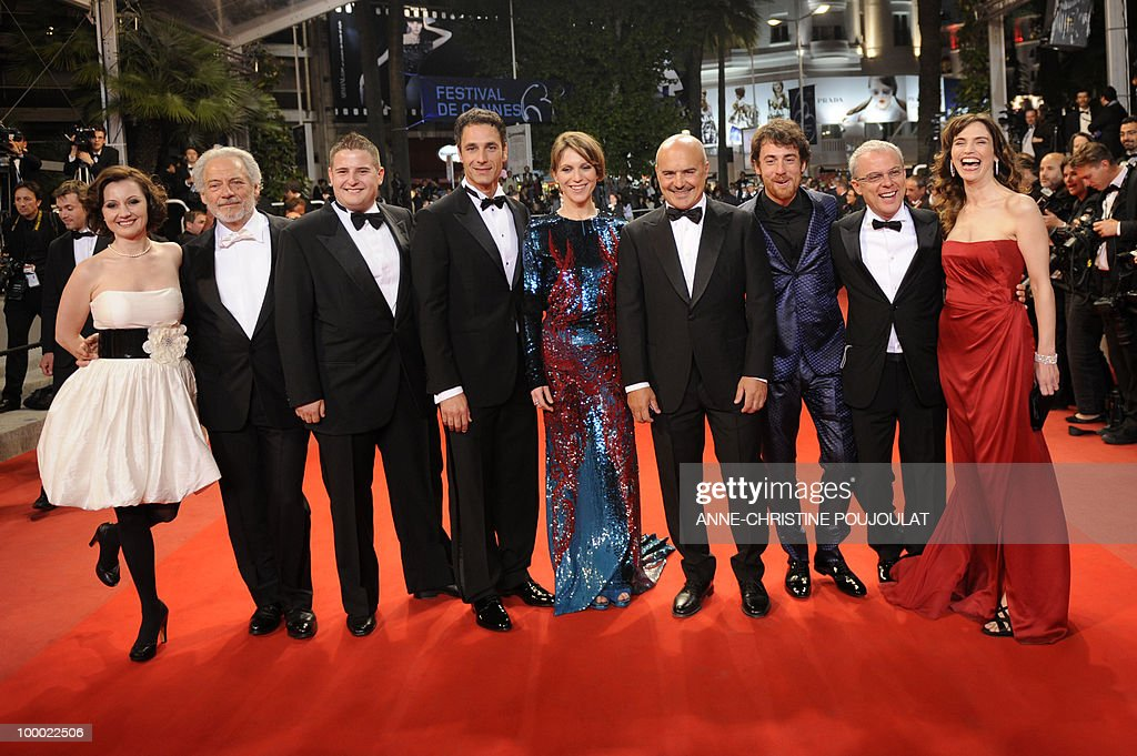 Italian actress Alina Berzenteanu, Italian actor Giorgio Colangeli, Italian actor Marius Ignat, Italian actor Raoul Bova, Italian actress Isabella Ragonese, Italian actor Luca Zingaretti, Italian actor Elio Germano and Italian director Daniele Luchetti arrive for the screening of 'La Nostra Vita' (Our Life) presented in competition at the 63rd Cannes Film Festival on May 20, 2010 in Cannes.