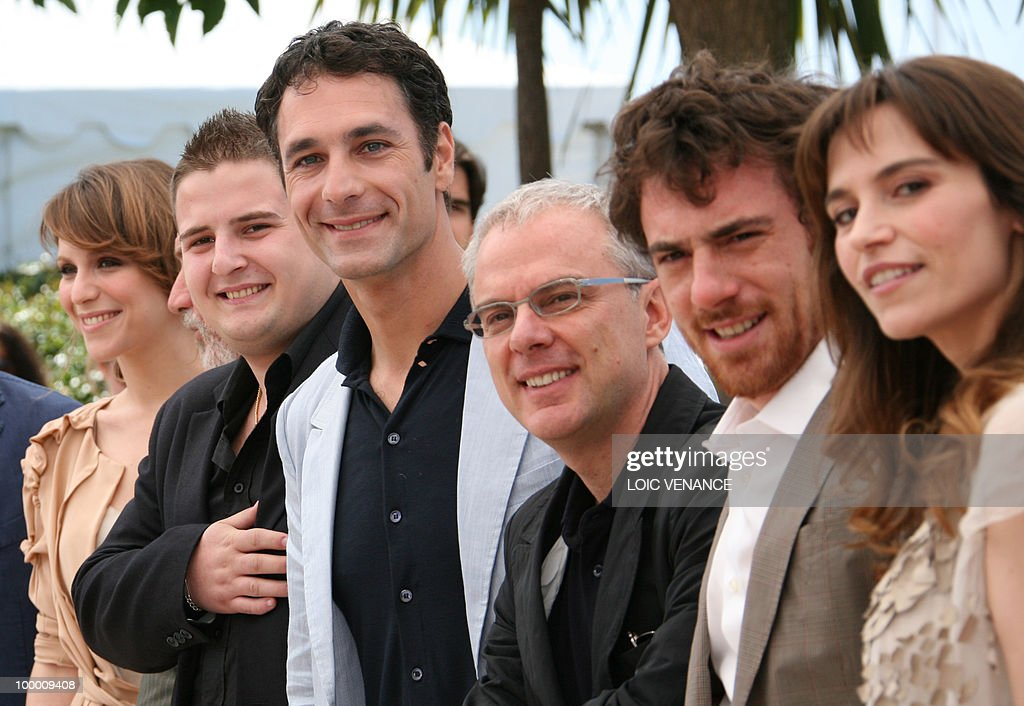 Italian actress Isabella Ragonese, Italian actor Marius Ignat, Italian actor Raoul Bova, Italian director Daniele Luchetti, Italian actor Elio Germano and Italian actress Stefania Montorsi pose during the photocall of 'La Nostra Vita' (Our Life) presented in competition at the 63rd Cannes Film Festival on May 20, 2010 in Cannes.