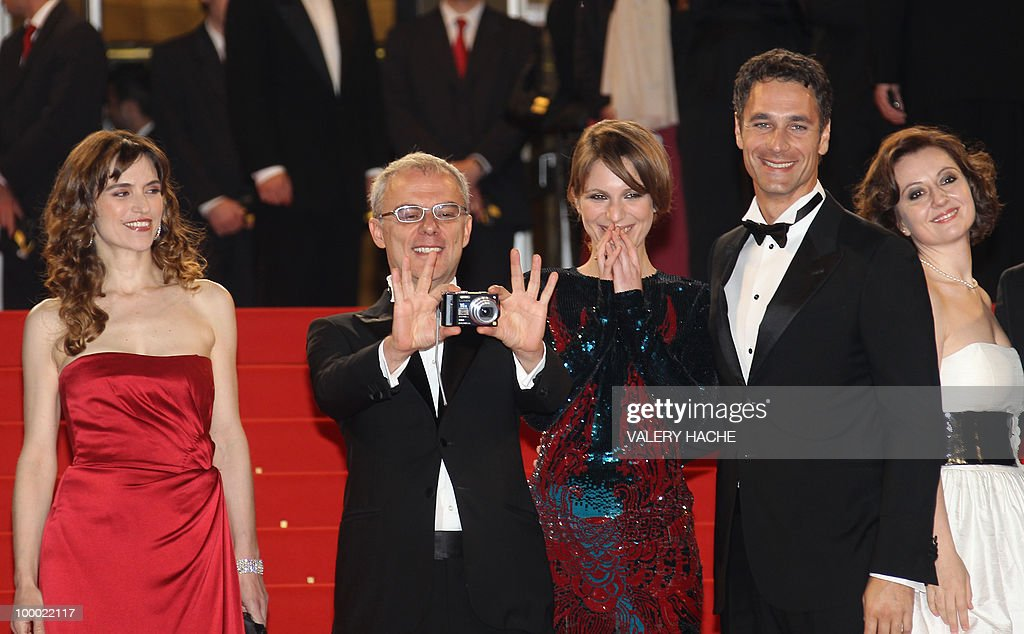 Italian actress Stefania Montorsi, Italian director Daniele Luchetti, Italian actress Isabella Ragonese, Italian actor Raoul Bova and Italian actress Alina Berzenteanu arrive for the screening of 'La Nostra Vita' (Our Life) presented in competition at the 63rd Cannes Film Festival on May 20, 2010 in Cannes.
