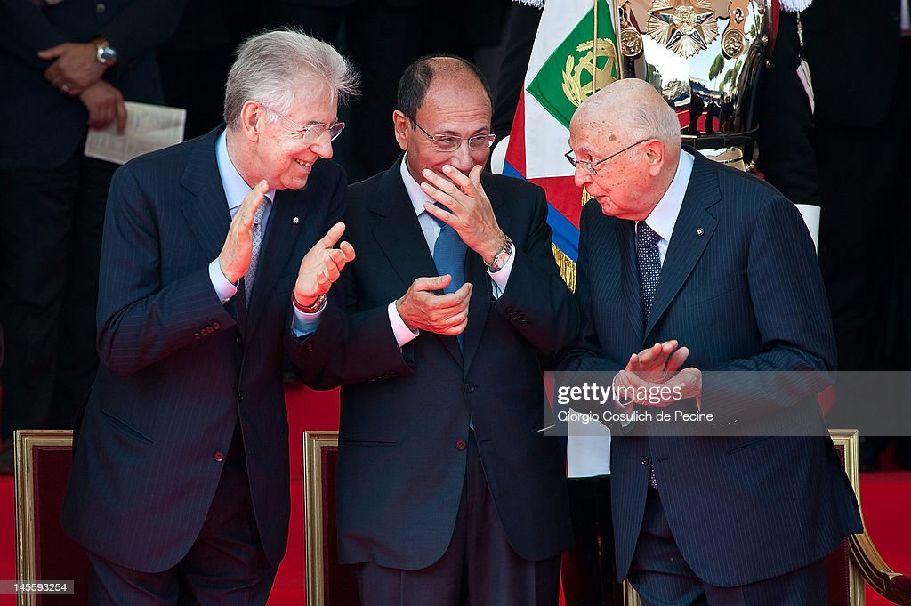 From left, Italian Prime Minister, <a gi-track='captionPersonalityLinkClicked' href=/galleries/search?phrase=Mario+Monti&family=editorial&specificpeople=632091 ng-click='$event.stopPropagation()'>Mario Monti</a>, President of the Senate, <a gi-track='captionPersonalityLinkClicked' href=/galleries/search?phrase=Renato+Schifani&family=editorial&specificpeople=4851265 ng-click='$event.stopPropagation()'>Renato Schifani</a> and Italian President, <a gi-track='captionPersonalityLinkClicked' href=/galleries/search?phrase=Giorgio+Napolitano&family=editorial&specificpeople=568986 ng-click='$event.stopPropagation()'>Giorgio Napolitano</a>, attend a military parade at Via dei Fori Imperiali to mark the founding of the Italian Repubblic on June 2, 2012 in Rome, Italy. The Italian Republic was founded in 1946, after the death of Benito Mussolini.
