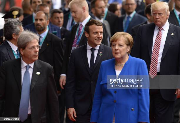 Italian Prime Minister Paolo Gentiloni French President Emmanuel Macron German Chancellor Angela Merkel and US President Donald Trump arrive at the...