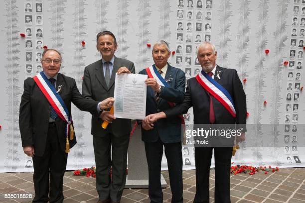 JackyDuminy JeanFrançois Legaret JeanClaudeJegoudez ArmandJacquemin during an exhibition on the massacre of 30000 political prisoners in Iran in...