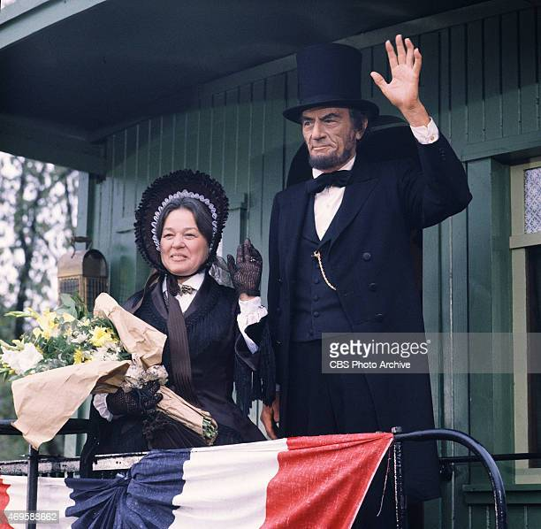 From left Janice Carroll and Gregory Peck at a whistlestop in Leaman Place Pennsylvania on February 22 1861 They appear in The Blue and the Gray the...
