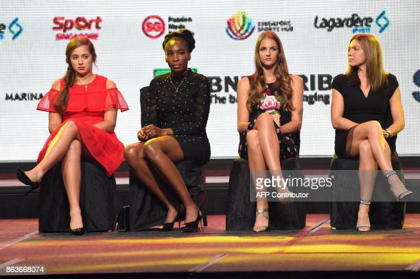 From left Jelena Ostapenko of Latvia Venus Williams of the United States Karolina Pliskova of Czech Republic Simona Halep of Romania attend the...