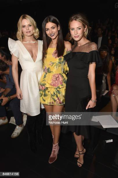 From left Jennifer Morrison Victoria Justice and Dylan Penn attend the Marchesa fashion show during New York Fashion Week The Shows at Gallery 1...