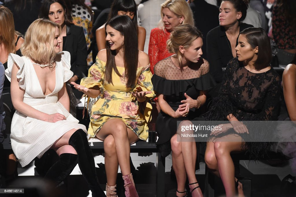 From left, Jennifer Morrison, Victoria Justice, Dylan Penn and Shanina Shaik attend the Marchesa fashion show during New York Fashion Week: The Shows at Gallery 1, Skylight Clarkson Sq on September 13, 2017 in New York City.