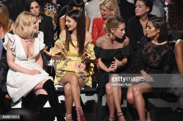 From left Jennifer Morrison Victoria Justice Dylan Penn and Shanina Shaik attend the Marchesa fashion show during New York Fashion Week The Shows at...