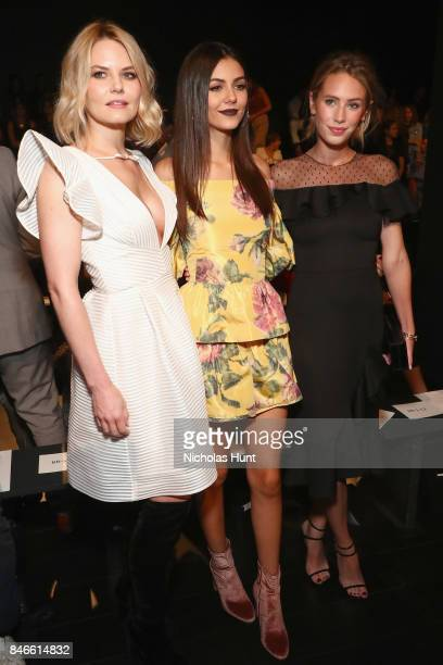 From left Jennifer Morrison Victoria Justice Dylan Penn attend the Marchesa fashion show during New York Fashion Week The Shows at Gallery 1 Skylight...