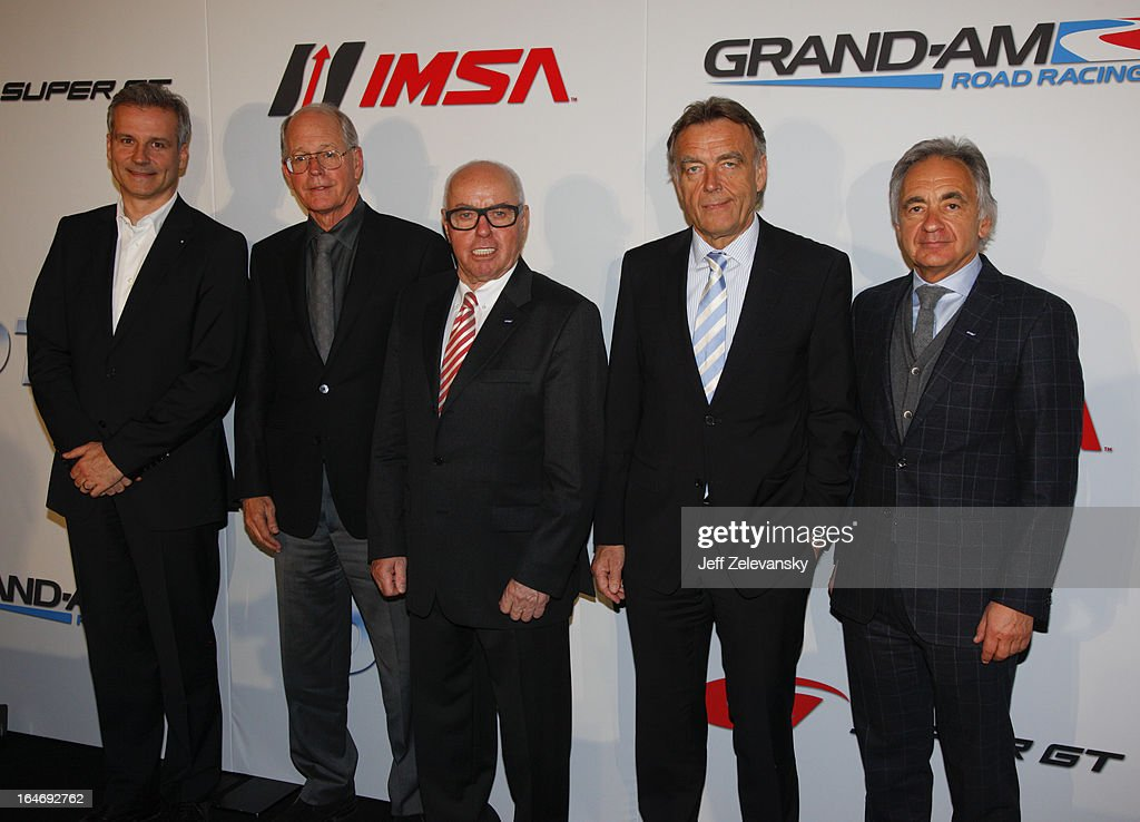 From left, Jens Marquardt, Director, BMW Motorsport, Jim France, Executive Vice President/Secretary, NASCAR, Hans Werner Aufrecht, ITR Board Member, Wolfgang Schattling, Director Motorsport Communications, Mercedes-Benz and Juergen Pippig, Executive Board Member, DTM ITR GmbH pose for a photograph at a news conference to announce the GRAND AM IMSA DTM technical license cooperation agreement at the Intercontinental Hotel on March 26, 2013 in New York City.