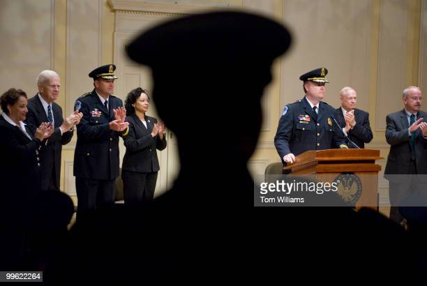 From left Jo Ann Jenkins Chief Operation Officer of the US Capitol Police James Billington Librarian of Congress Chief Phillip Morse Capitol Police...