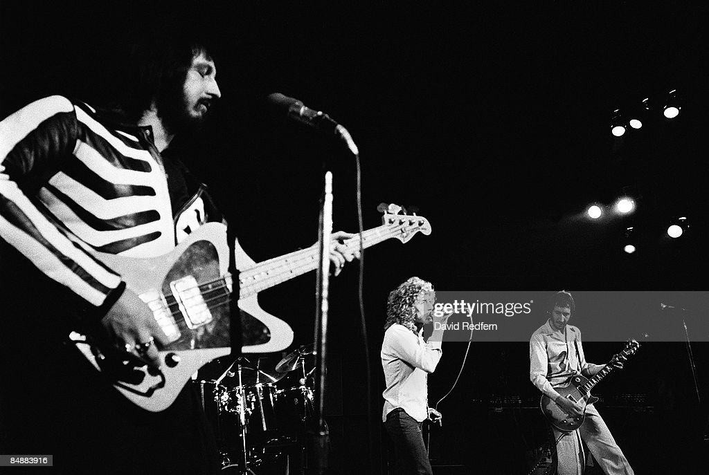 LYCEUM Photo of Pete TOWNSHEND and Roger DALTREY and John ENTWISTLE and The Who, L-R: John Entwistle (in skeleton suit), Roger Daltrey, Pete Townshend performing live onstage on Quadrophenia tour