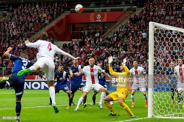 Joseph Chipolina Lukasz Szukala Liam Walker JohnPaul Duarte Kamil Glik Roy Chipolina Jordan Perez and Robert Lewandowski during the UEFA Euro 2016...