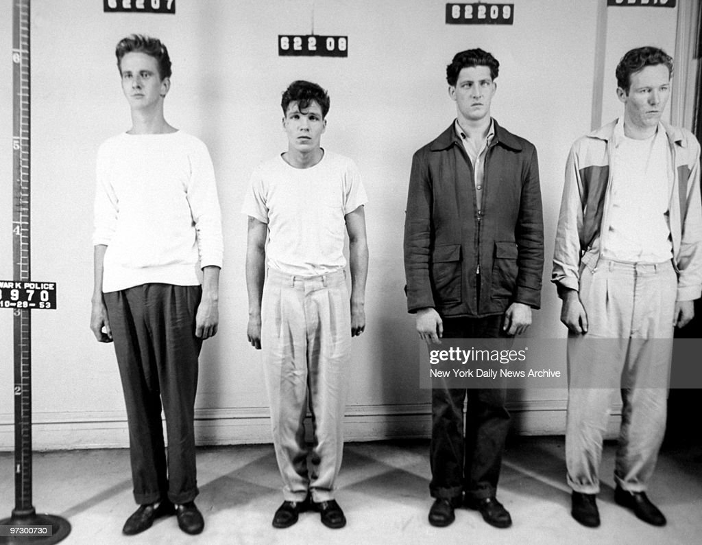 From left Joseph Patrick Donovan alias Whitey Frank Peter McLaughlin John Joseph Bruns and Thomas Joseph Farmer in police station after being charged...