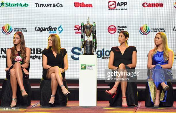 From left Karolina Pliskova of Czech Republic Simona Halep of Romania Garbine Muguruza of Spain and Elina Svitolina of Ukraine attend the Official...