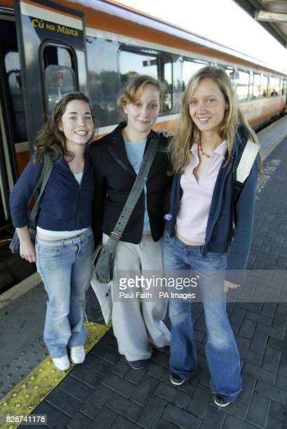 From left Katherine Hanney Doireann O'Rourke and Ciara Denham from Dublin board a train in Heuston Station for free as unions protest at plans to...