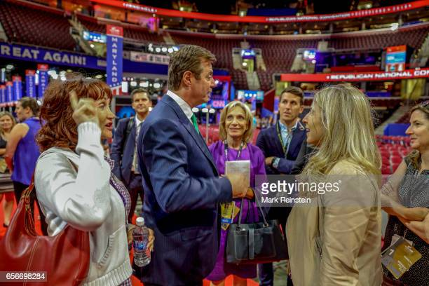 From left Kathleen Manafort and her husband American political lobbyist and Trump campaign manager Paul Manafort broadcast journalist Andrea Mitchell...