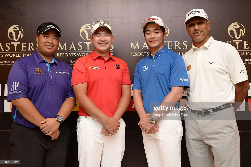 From left <a gi-track='captionPersonalityLinkClicked' href=/galleries/search?phrase=Kiradech+Aphibarnrat&family=editorial&specificpeople=6827713 ng-click='$event.stopPropagation()'>Kiradech Aphibarnrat</a> of Thailand, Angelo Que of Philippines, Liang Wen-chong of China and <a gi-track='captionPersonalityLinkClicked' href=/galleries/search?phrase=Jeev+Milkha+Singh&family=editorial&specificpeople=562393 ng-click='$event.stopPropagation()'>Jeev Milkha Singh</a> of India pose during the press conference ahead of the Resorts World Manila Masters at Manila Southwoods Golf and Country Club on November 19, 2014 in Manila, Philippines.