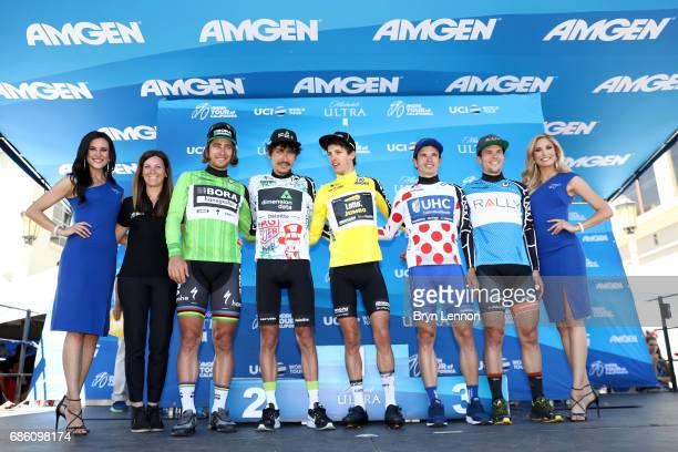 From left Kristen Klein SVP Executive Director Amgen Tour of California Peter Sagan of Slovakia riding for BoraHansgrohe in the Visit California Race...