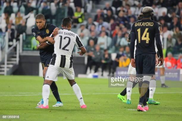 Kylian Mbapp Alex Sandro and Timou Bakayoko during the second leg of Champions League semifinal between Juventus FC and AS Monaco at Juventus Stadium...