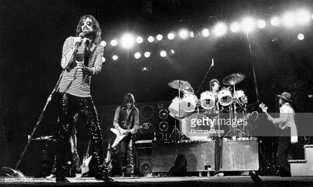 From left lead singer Peter Wolf J Geils Stephen Bladd and Danny Klein perform with The J Geils band at the Boston Garden in Boston on Feb 11 1979