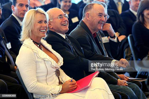 From left Lisa Curry Kenny Prime Minister John Howard and Ian Kiernan at the Australian Of The Year launch at Sydney Opera House Howard then held a...
