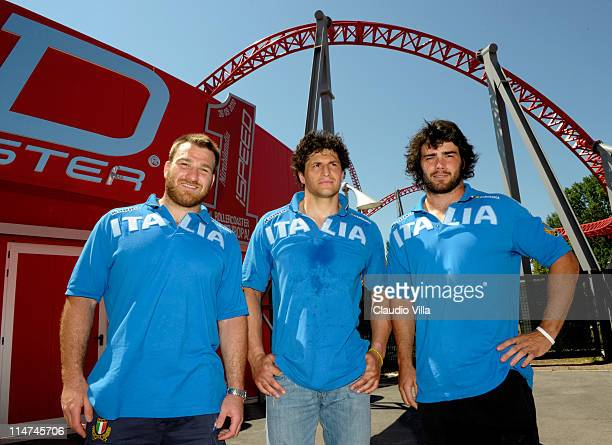 From left Lorenzo Cittadini Alessandro Zanni and Luke McLean during the Italy rugby team visit to Mirabilandia amusement park on May 26 2011 in...