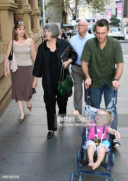 From left Margaret and Raymond Sutton and their son Gregory Sutton arriving at the Supreme Court King Street Sydney with an unidentified women at...