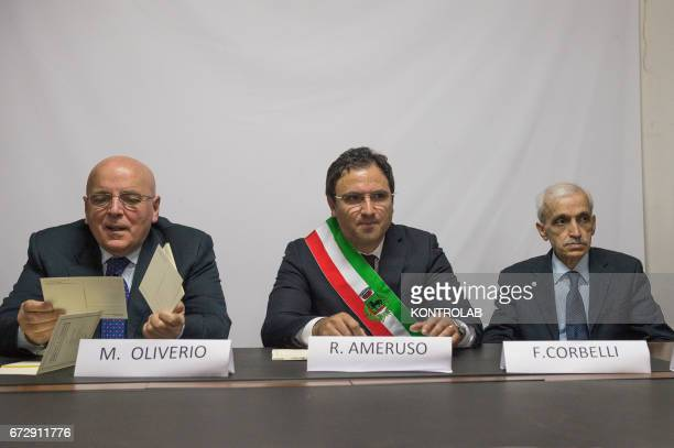 From left Mario Oliverio President of the Region Calabria Mayor of Tarsia Roberto Ameruso and Franco Corbelli leader of the Civil Rights Movement and...