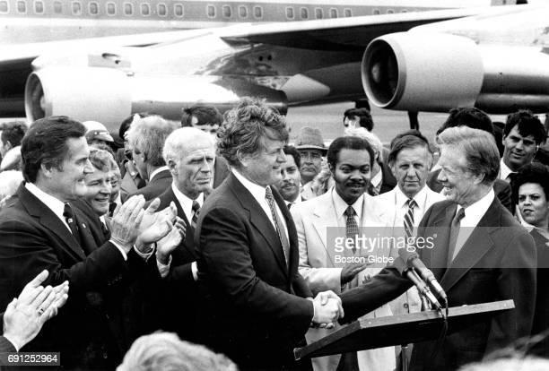 From left Massachusetts Governor Edward J King Massachusetts Senate President William Bulger Boston Mayor Kevin White Senator Edward M Kennedy and...