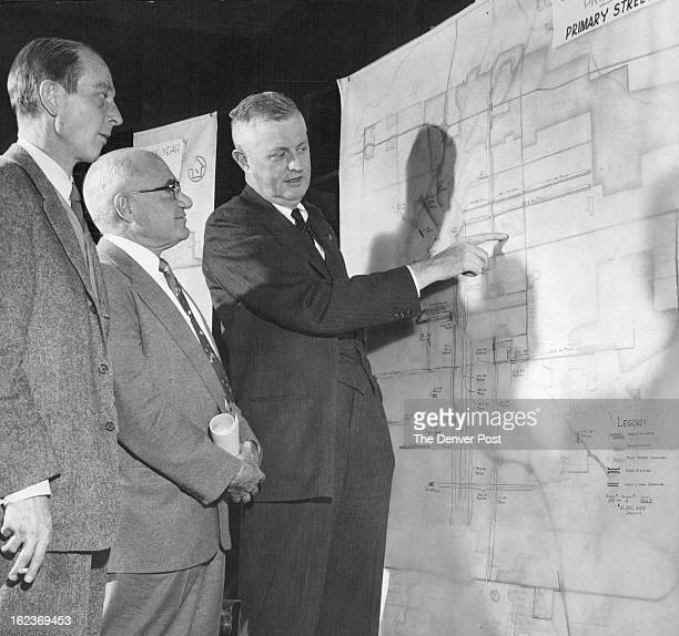 DEC 17 1956 From left Mel Roberts chairman of the city planning commission and head of the city capital improvements budget committee Cy Hackstaff...