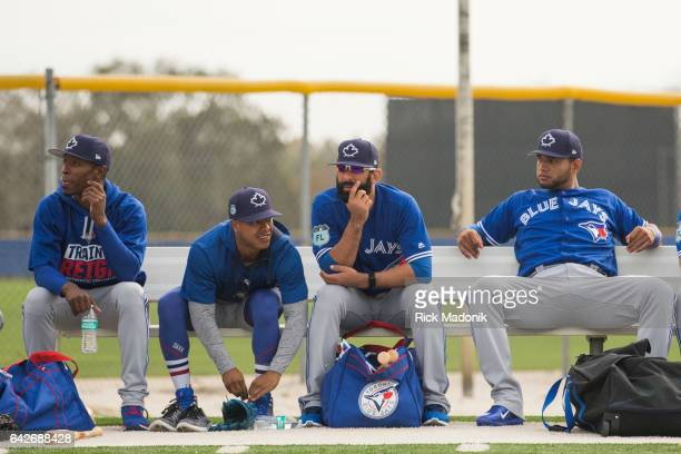 From left Melvin Upton Jr Marcus Stroman Jose Bautista and Lourdes Gurriel as they wait for the start of warm ups Toronto Blue Jays welcome the...