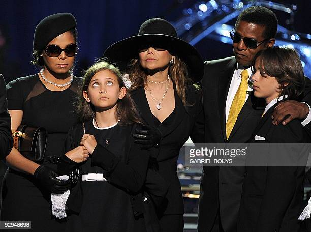 From left Michael Jackson's sister Janet Jackson daughter Paris sister LaToya Jackson brother Jermaine Jackson and oldest son Prince Michael I attend...