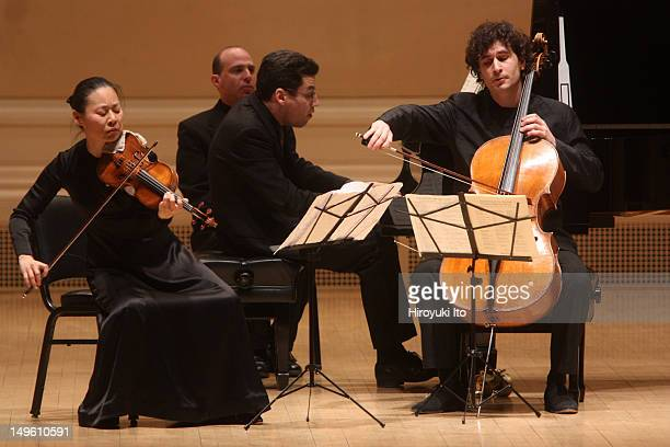 From left Midori Jonathan Biss and Antoine Lederlin performing Haydn's 'Piano Trio in A Major' at Carnegie Hall on Tuesday night April 5 2011The...