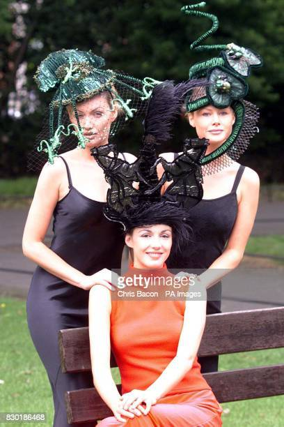 From left models Mary Grimes Ruth Griffin and Vivienne Connolly in Dublin to help launch the 1999 Budweiser Irish Derby which will take place at The...