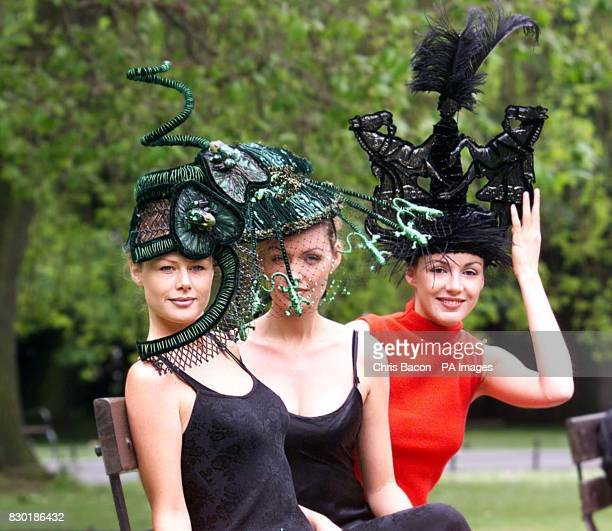 From left models Mary Grimes Vivienne Connolly and Ruth Griffin in Dublin to help launch the 1999 Budweiser Irish Derby which will take place at The...