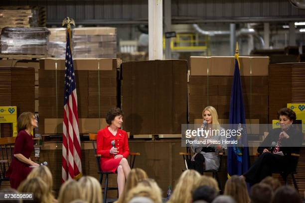 From left moderator Nan Hayworth a former congresswoman from New York Sen Susan Collins Ivanka Trump and US Treasurer Jovita Carranza during a panel...
