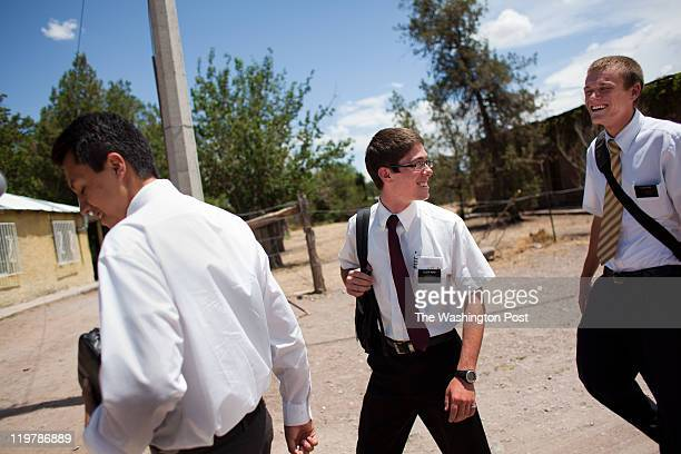 From left mormon missionaries Elder Gil Elder Moak and Elder King walk to Sunday lunch in Colonia Juarez Mexico in July 2011 United States...
