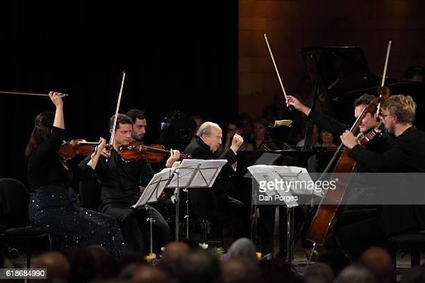 From left musicians Baiba Skride and Benny Peled both on violin Menahem Pressler on piano Krzysztof Chorzelski on viola and Julian Steckel on cello...