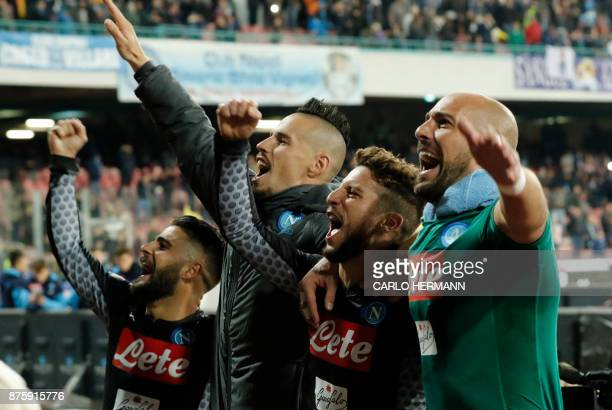 Napoli's Italian striker Lorenzo Insigne Napoli's Slovakian midfielder Marek Hamsik Napoli's Belgian striker Dries Mertens and Napoli's Spanish...