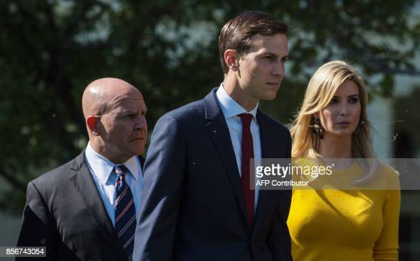 National Security Advisor HR McMaster Jared Kushner and Ivanka Trump arrive for a moment of silence for the victims of the Las Vegas shootings on the...