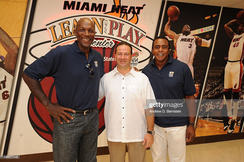 From left NBA Legend <a gi-track='captionPersonalityLinkClicked' href=/galleries/search?phrase=Clyde+Drexler&family=editorial&specificpeople=208989 ng-click='$event.stopPropagation()'>Clyde Drexler</a>, Zavier Garcia, Mayor, Miami-Dade County and NBA TV Host <a gi-track='captionPersonalityLinkClicked' href=/galleries/search?phrase=Ahmad+Rashad&family=editorial&specificpeople=228301 ng-click='$event.stopPropagation()'>Ahmad Rashad</a> attend the unveiling of the NBA Cares Learn and Play Center at the Miami Springs Community Center presented by HP and State Farm on June 18, 2012 in MIami, Florida.