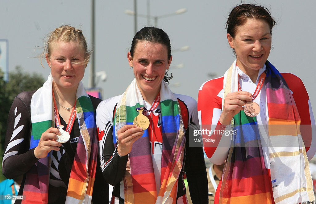 From left, New Zealand's <a gi-track='captionPersonalityLinkClicked' href=/galleries/search?phrase=Linda+Villumsen&family=editorial&specificpeople=2270327 ng-click='$event.stopPropagation()'>Linda Villumsen</a>, silver, Canada's Tara Alice Whitten, gold and England's Julia Shaw, bronze, pose with their medals after the women's cycling road individual time trial during the Commonwealth Games at Noida Expressway, outside Delhi on October 13, 2010. Whitten won the gold medal.