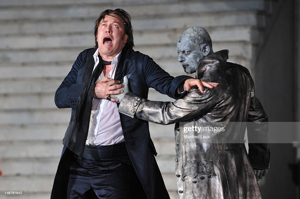 Nicholas Ofczarek (Everyman) and Ben Becker (Death) is seen during the photo rehearsal of 'Jedermann' (Everyman) on the Domplatz ahead of Salzburg Festival 2012 on July 19, 2012 in Salzburg, Austria. The Salzburg Festival 2012 will run from July 20th til September 2nd 2012.