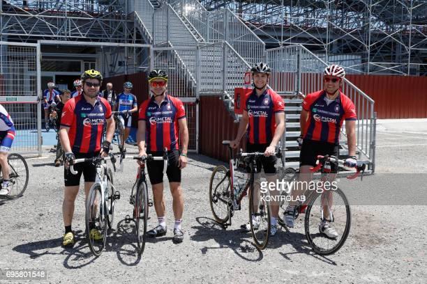 From left Paolo Baretto Davide Nicola coach of FC Crotone Calcio Alessio Capello and the athletic trainer Elmiro Trombino on bicycles trip to Turin...