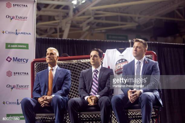 From left Paul Holmgren president of the Flyers will serve as the Portland teams governor Danny Briere a former Flyers player will oversee daytoday...
