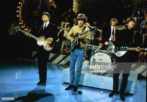 STARS Photo of BEATLES Paul McCartney George Harrison Ringo Starr John Lennon performing at Alpha Television Studios Aston Birmingham Bigsby Vibrato