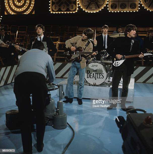 Paul McCartney George Harrison Ringo Starr and John Lennon of The Beatles perform on Thank Your Lucky Stars television show filmed at Alpha...