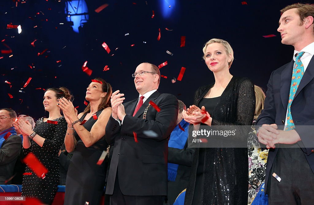 Pauline Ducruet, Princess Stephanie of Monaco, Prince Albert II of Monaco, his wife, Princess Charlene and Pierre Casiraghi, attend the official Award Gala Evening of the 37th International Circus Festival of Monte Carlo in Monaco, 22 January 2013.