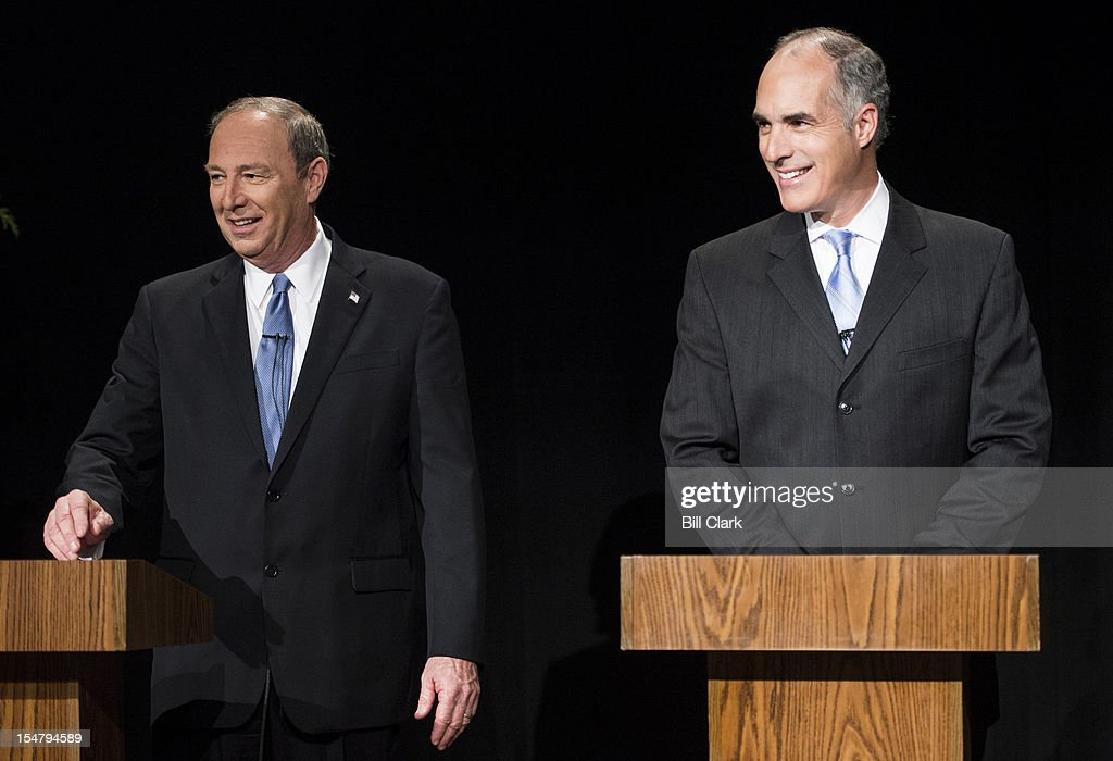 From left, Pennsylvania Senate candidates <a gi-track='captionPersonalityLinkClicked' href=/galleries/search?phrase=Tom+Smith+-+Politiker+in+Pennsylvania&family=editorial&specificpeople=15124364 ng-click='$event.stopPropagation()'>Tom Smith</a>, Republican, and Sen.Bob Casey, Democrat, stand at their podiums before the taping of their debate at WPVI, the ABC affiliate in Philadelphia on Friday, Oct. 26, 2012.