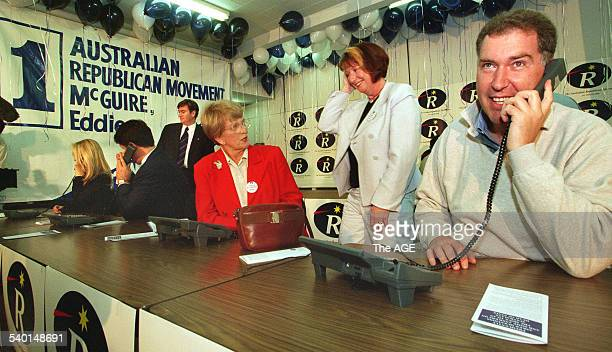 From left Poppy King Malcolm Turnbull Eddie McGuire Hazel Hawke Mary Delahunty and Steve Vizard at the Australian Republican Movement's hotline...